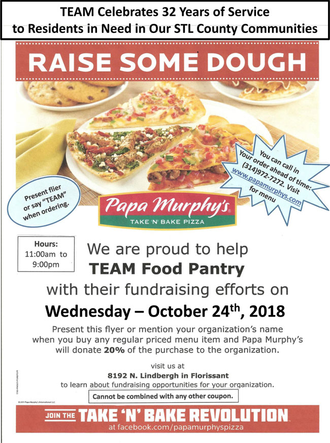 TEAM Fundraiser at Papa Murphy's